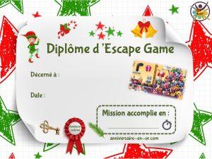 Diplôme d'escape game thème Noël