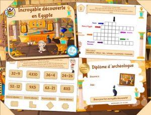 jeu à imprimer de chasse au trésor dans les pyramides d'Egypte