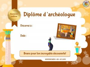 Diplôme d'archéologue pour chasse au trésor