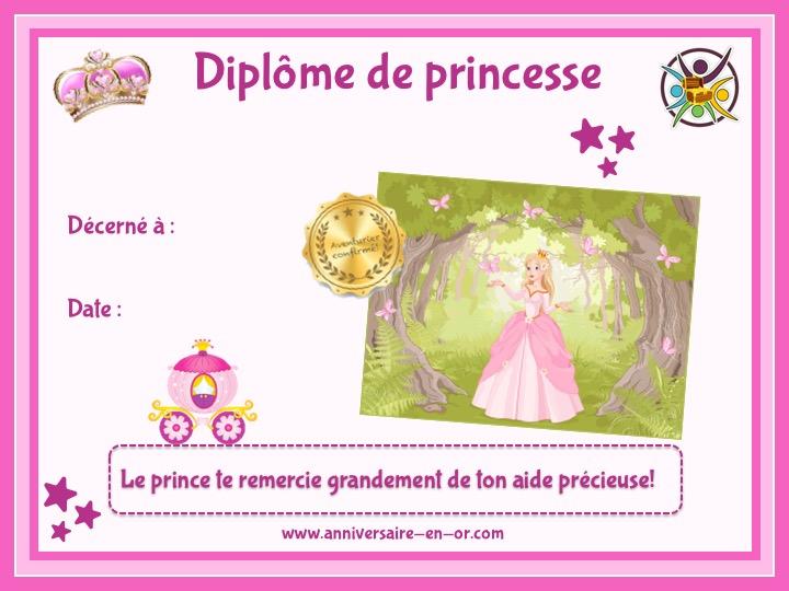 Diplôme de princesse pour activité anniversaire