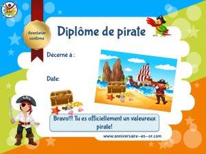 Diplôme de pirate pour chasse au trésor