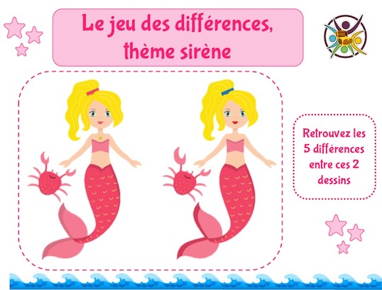 Jeu gratuit à imprimer des différences thème sirène