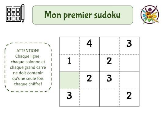 Premier sudoku à imprimer gratuitement