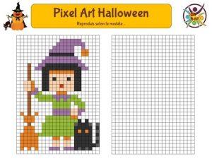 Pixel art d'Halloween à imprimer pour enfants
