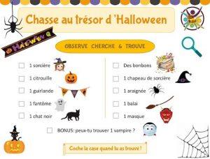 chasse au trésor gratuite à imprimer pour fêter Halloween avec des enfants