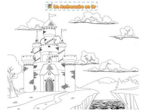 Coloriage de chateau fort pour enfant à imprimer
