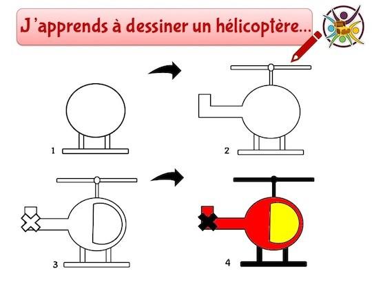 j'apprends à dessiner un hélicoptère
