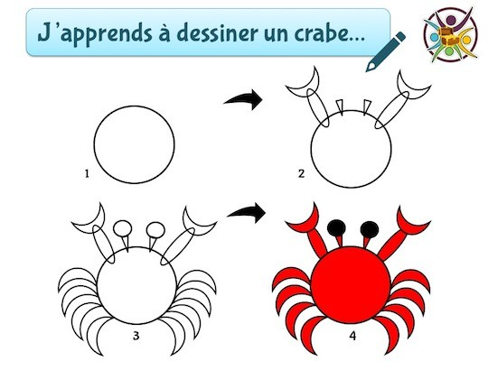 J'apprends à dessiner un crabe