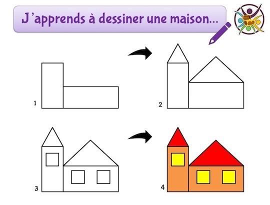 j'apprends à dessiner une maison