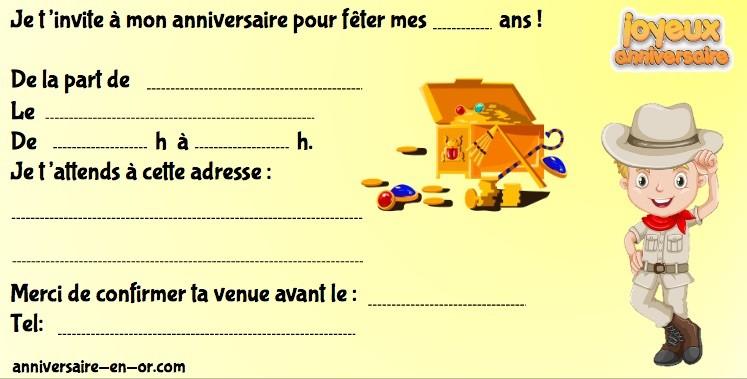 Invitation anniversaire sur le thème de l'Egypte