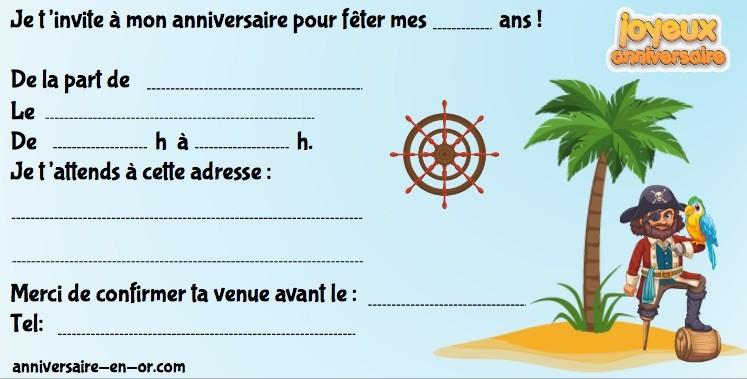 Invitation d'anniversaire pour chasse au trésor sur l'île aux pirates