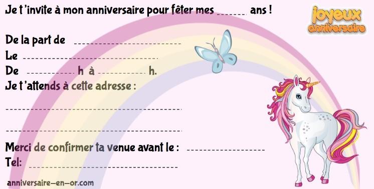 invitation d'anniversaire licorne!
