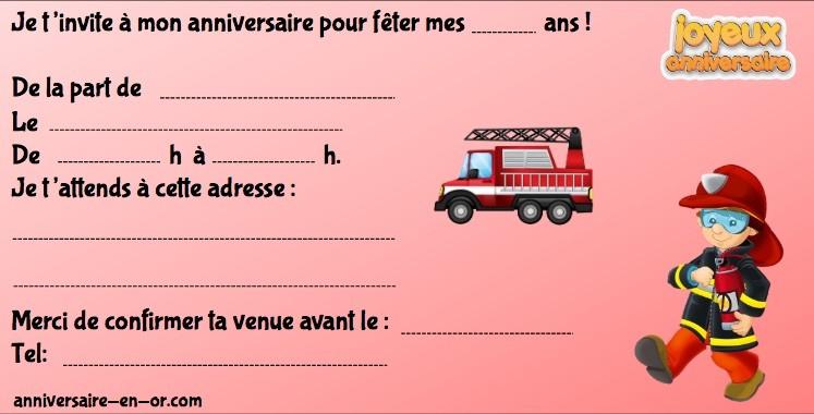 Invitation à imprimer pour anniversaire pompier