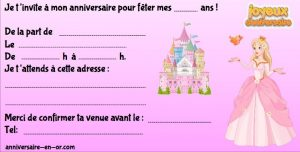 Invitation pour anniversaire princesse