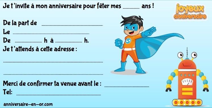 Invitation anniversaire des super héros