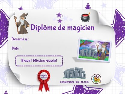 Diplôme de magicien à imprimer pour jeu de piste enfants 6-7 ans