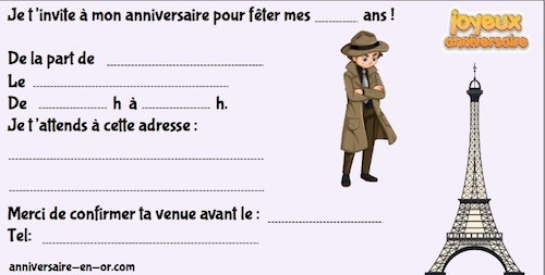 Invitation anniversaire enquête à Paris