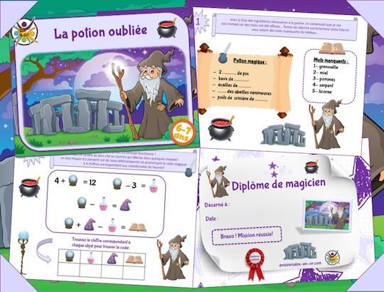 jeu de piste pour enfants thème magicien, 6-7 ans