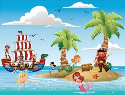 Chasse au trésor des pirates et des sirènes comme jeu anniversaire