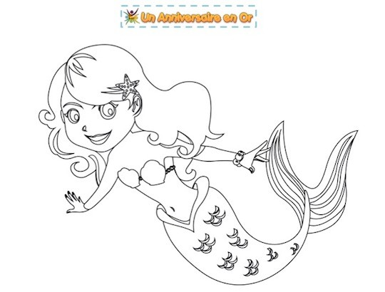 coloriage gratuit pour enfant thème sirène