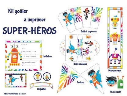 Kit de décoration anniversaire à imprimer sur le thème des super-héros
