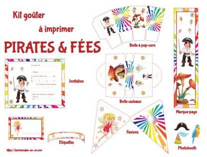 Kit de décoration anniversaire à imprimer des pirates et des fées