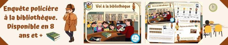 Enquête à imprimer pour enfants à la bibliothèque