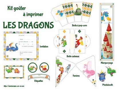 Kit décoration anniversaire dragons à imprimer
