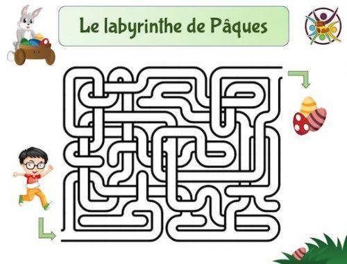 Jeu, activité, labyrinthe de Pâques à imprimer pour enfants!