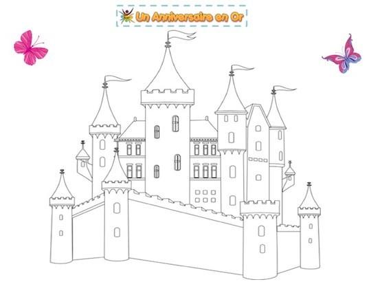 Coloriage enfant de chateau de princesse à imprimer