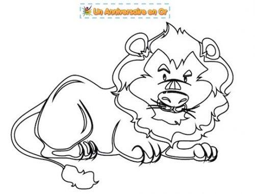 Coloriage pour enfant à imprimer gratuitement: le lion de la savane