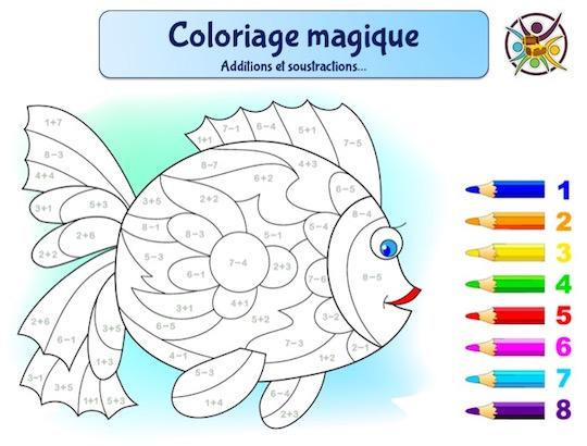 Coloriage magique poisson avec additions et soustractions