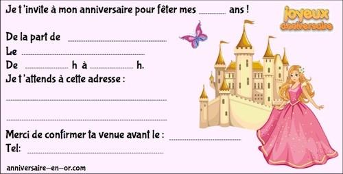 Invitations anniversaire princesse à imprimer gratuitement