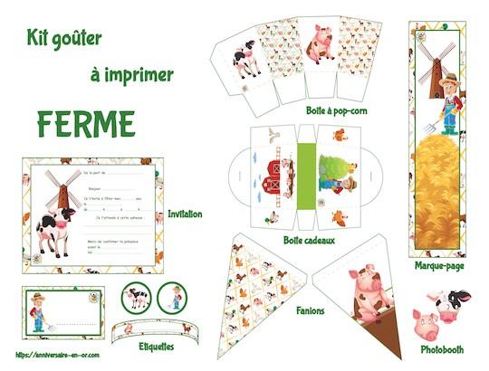 Kit de décoration anniversaire à imprimer pour enfants sur le thème de la ferme