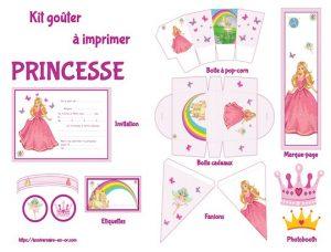 Kit de décoration anniversaire pour enfants imprimable sur le thème des princesses!