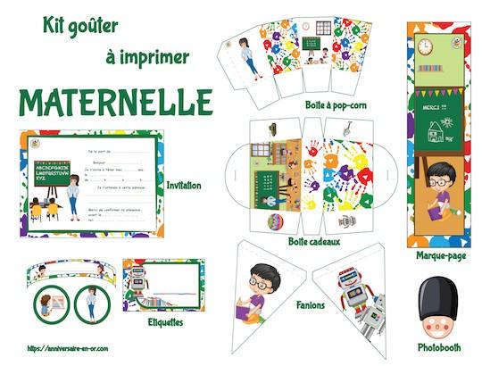 kit de décoration anniversaire à imprimer thème maternelle