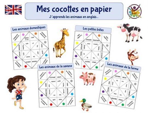 Cocottes en papier pour apprendre les animaux en anglais