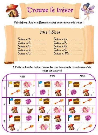 Chasse au trésor sous forme de cahier d'activités à imprimer pour enfants