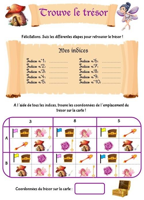 Chasse au trésor sous forme de cahier d'activités à imprimer pour enfant de maternelle