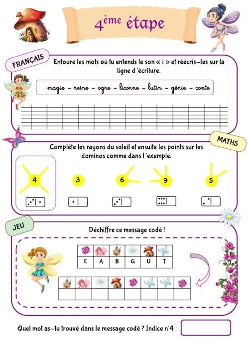 Cahier d'activités de vacances pour enfant de maternelle