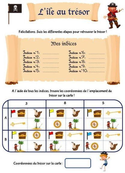 Chasse au trésor sous forme de cahier d'activités pour enfant de maternelle