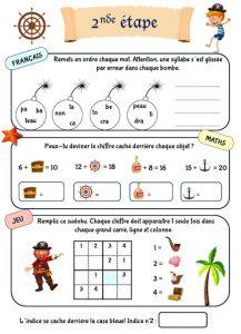 Cahier de vacances pour enfant, thème pirate, niveau CP