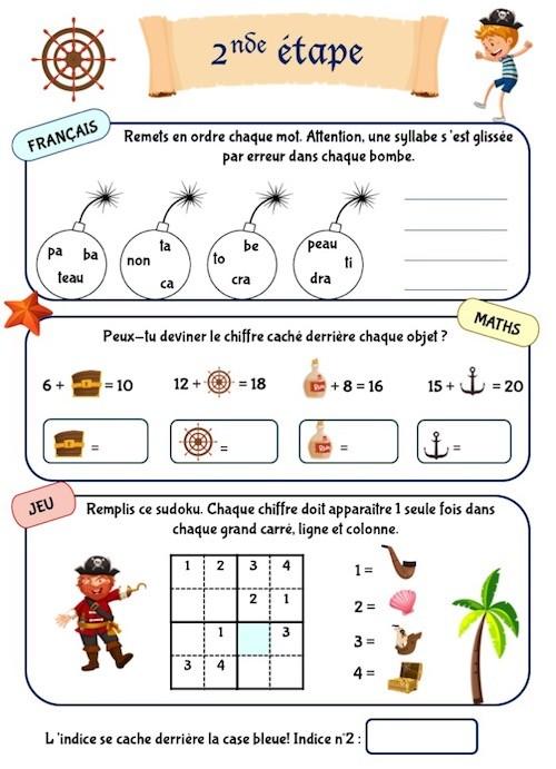 Cahier d'activités enfants 6 ans, thème pirate, niveau CP