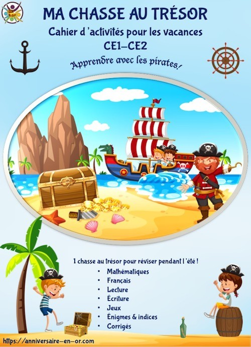 Cahier de jeux et activités de chasse au trésor pirate CE1-CE2
