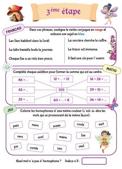 Cahier d'activités pour les vacances pour enfants de CE1-CE2