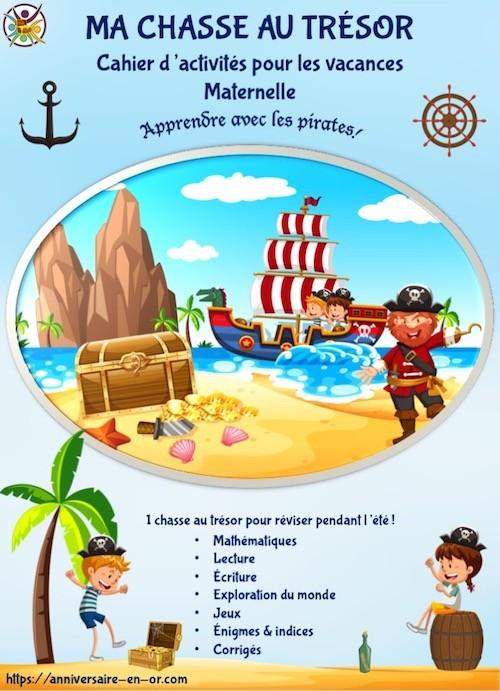 Cahier de vacances enfant de maternelle Pirate