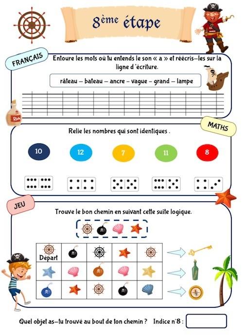Cahier d'activités pour enfants de maternelle thème pirate