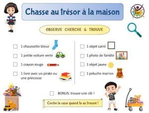 Chasse au trésor à la maison gratuite à imprimer pour enfants