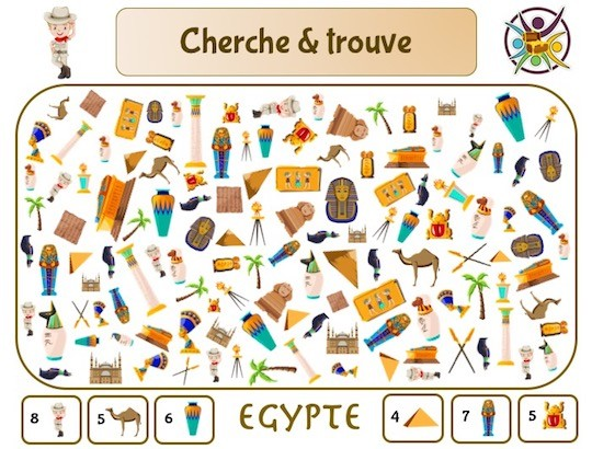 Cherche et trouve sur le thème de l'Egypte: jeu gratuit à imprimer