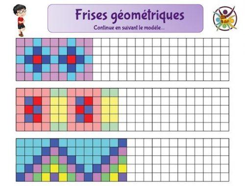 Frises géométriques à compléter pour activité enfant en mathématiques.
